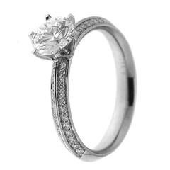 GIA Certified White Gold and Diamonds Engagement Ring