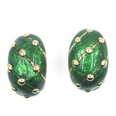 Tiffany & Co. Schlumberger Green Paillonne Enamel Gold Earrings