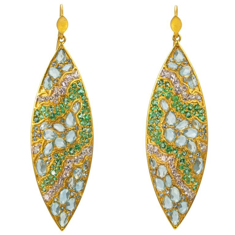 Lauren Harper Aquamarine White Sapphire Emerald Gold Drop Earrings