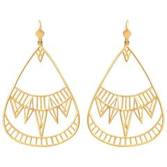 Lauren Harper Art Deco Gold Chrysler Building Inspired Drop Earrings