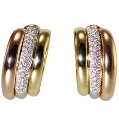 Cartier Diamond Tricolor Gold Hoop Earclips