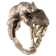 4.00 Carat Rough Brown Diamond Guarded by 18 Karat Gold Cat on the Vines Ring