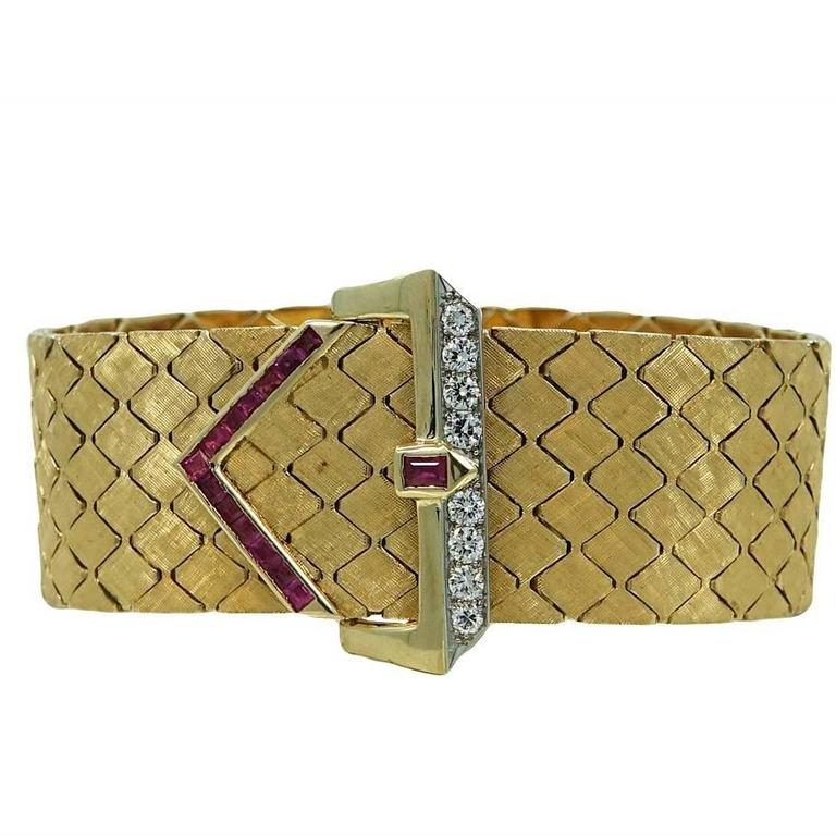 Ruby Diamond Yellow Gold Buckle Style Bracelet 1