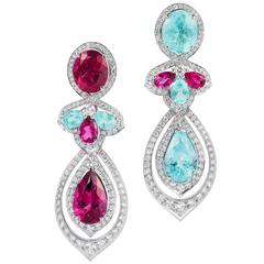 White Gold, White Diamond, Paraiba and Rubellite Detachable Earrings