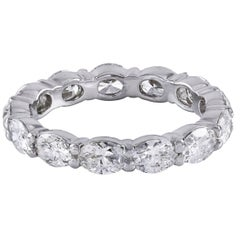 2.82 Carat Oval Shape Diamond Platinum Eternity Wedding Band Ring
