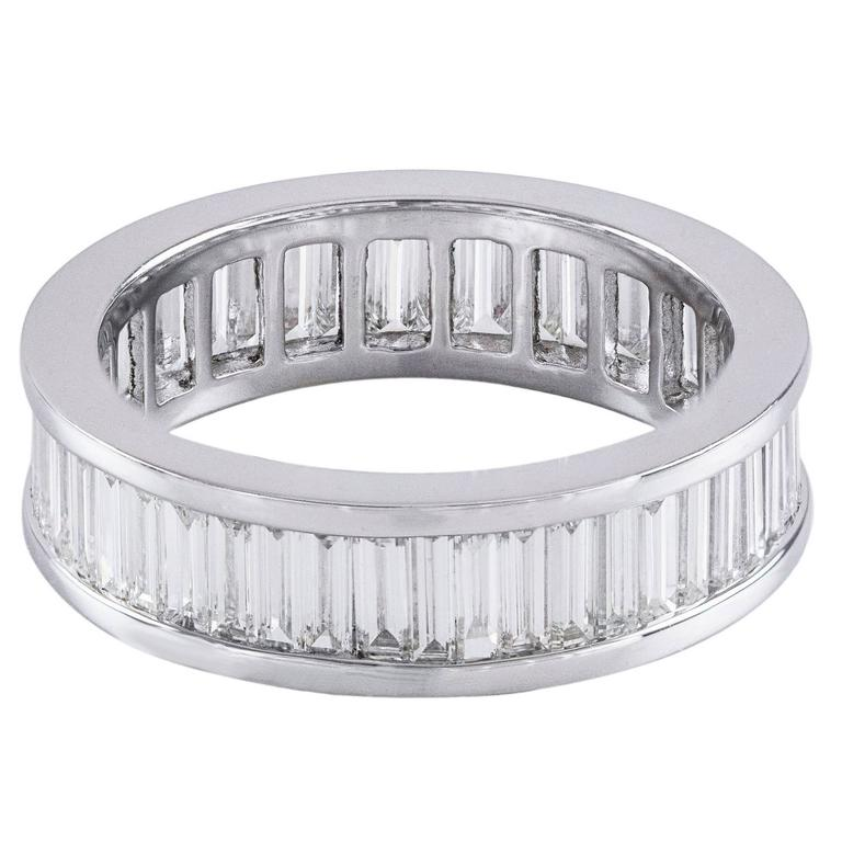 Baguette Diamond Eternity Wedding Band Ring For Sale at 1stdibs