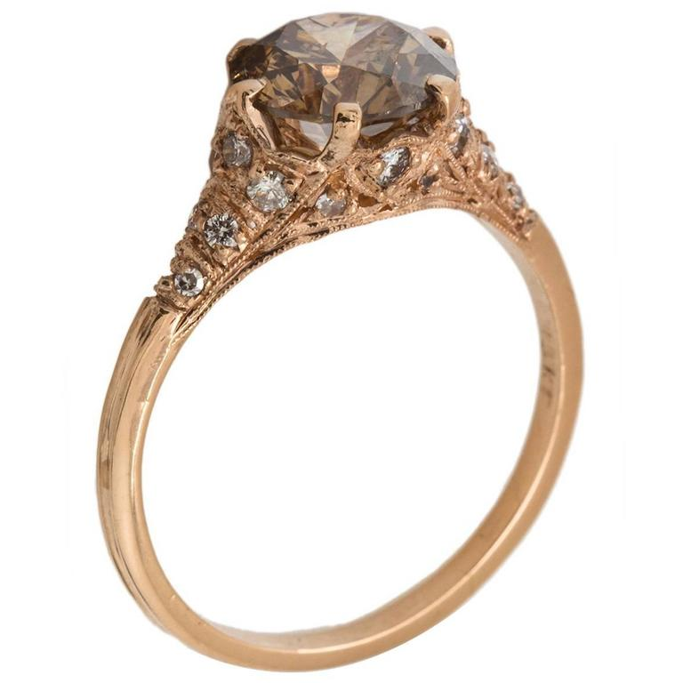 Cognac Diamond Enement Ring | Stunning Cognac Diamond Rose Gold Pave Diamond Ring For Sale At 1stdibs