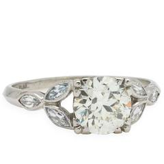 Vintage Diamond Engagement Ring Platinum 1.29ct OEC J/SI1, circa 1930s