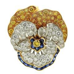 Oscar Heyman Diamond Yellow Sapphire Platinum Gold Pansy Brooch