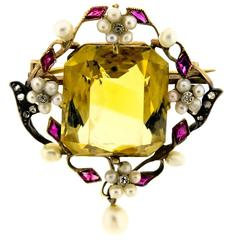 Turn of the Century Antique Citrine Ruby Pearl Diamond and Yellow Gold Brooch
