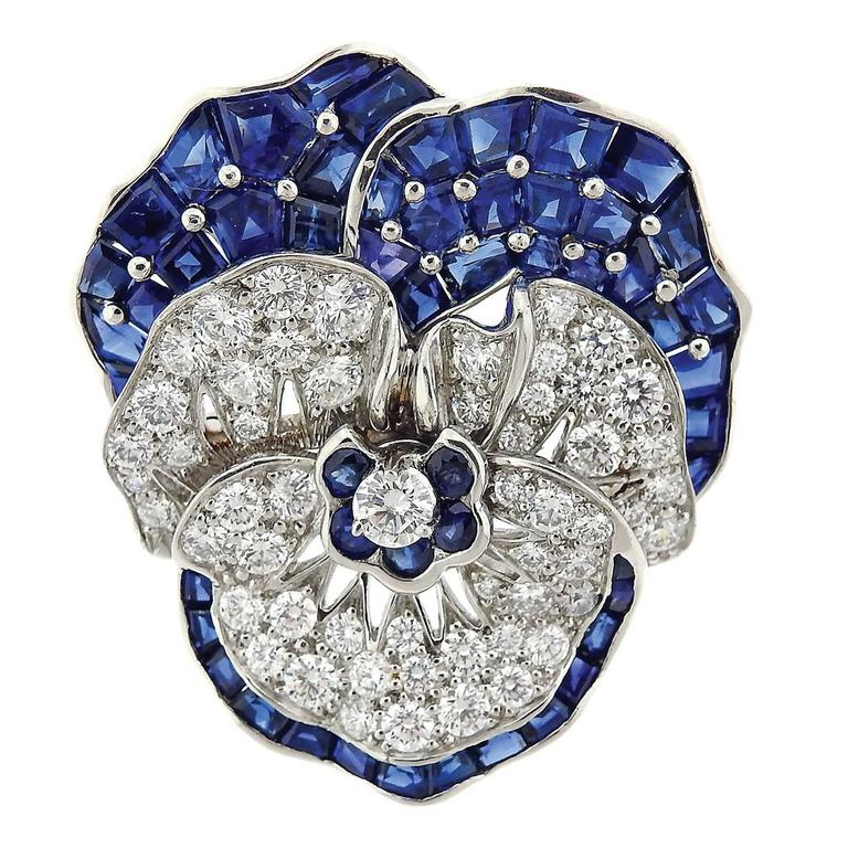 Large Oscar Heyman Blue Sapphire Diamond Platinum Pansy Flower Brooch For Sale