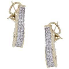 1 Carat Diamonds Yellow Gold Outside Hoop Earrings