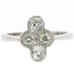 Vintage Diamond Cluster Ring, Four Cushion Shaped Diamonds, Old Mine Cuts