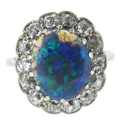 Vintage Black Opal Diamond Cluster Ring, Stamped Platinum, circa 1920s-1930s