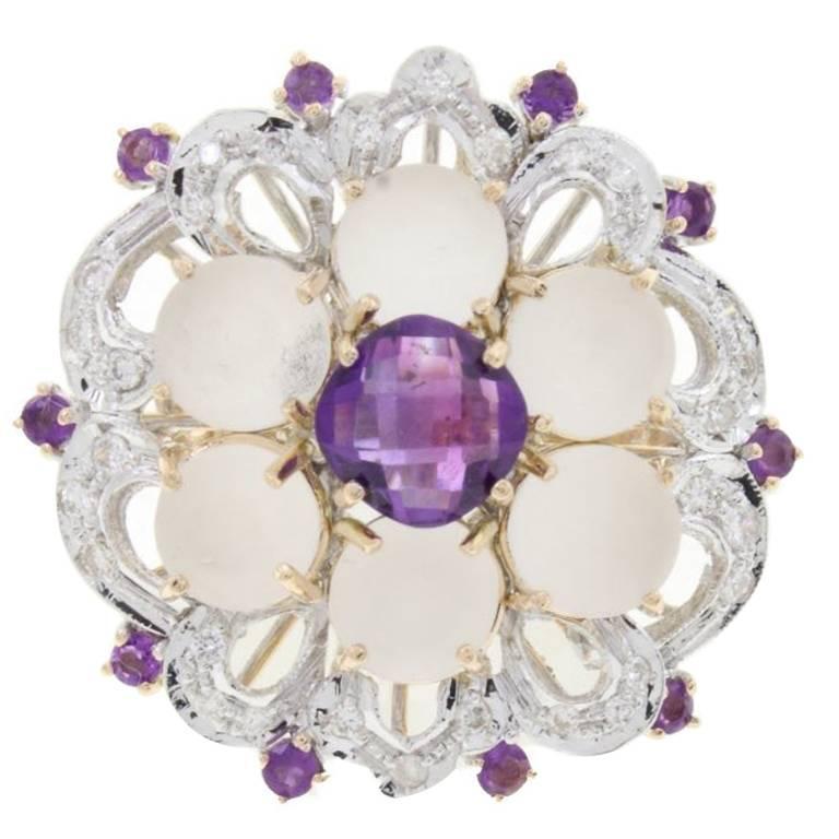 Amethyst Rock Crystal Diamond Gold Cluster Ring