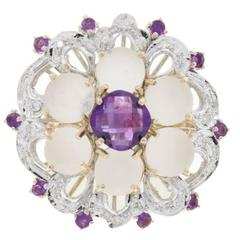 Amethyst Rock Crystal Diamond Gold Cluster Ring
