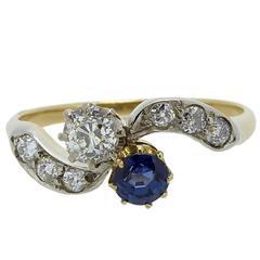 Vintage Sapphire Diamond Ring Cross-Over Twist Diamond Shoulders, circa 1930s