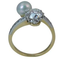 Old European Cut Diamond and Cultured Pearl Vintage Dress Ring, Two Stone