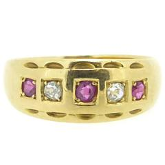 Antique Ruby and Diamond Victorian Keeper Ring in 18 Carat Gold, Birmingham 1877