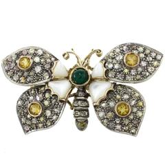 Luise Emerald Mother-of-Pearl Topaz Diamond Silver Gold Brooch Pendant