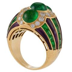 Bulgari 1980's Emerald Diamond Amethyst and Gold Ring