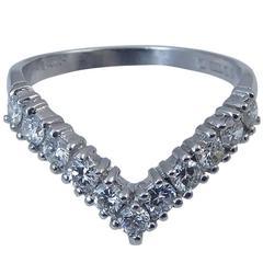 Vintage 1980s Diamond Wishbone Ring, 18 Carat White Gold