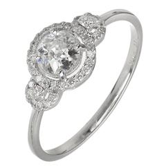 EGL Certified Three Stone Diamond Halo Gold Engagement Ring