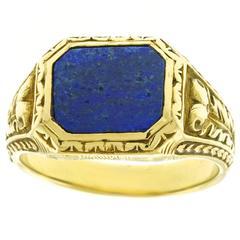 Antique Lapis Lazuli Gold Signet Ring