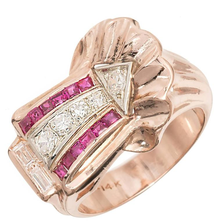 Ruby Diamond Rose and White Gold Arrow Design Cocktail Ring, circa 1930s