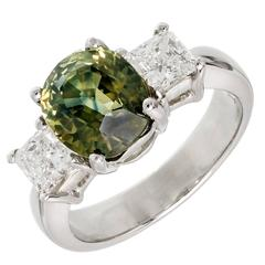 Peter Suchy 3.05 Carat Yellow Green Sapphire Diamond Platinum Engagement Ring