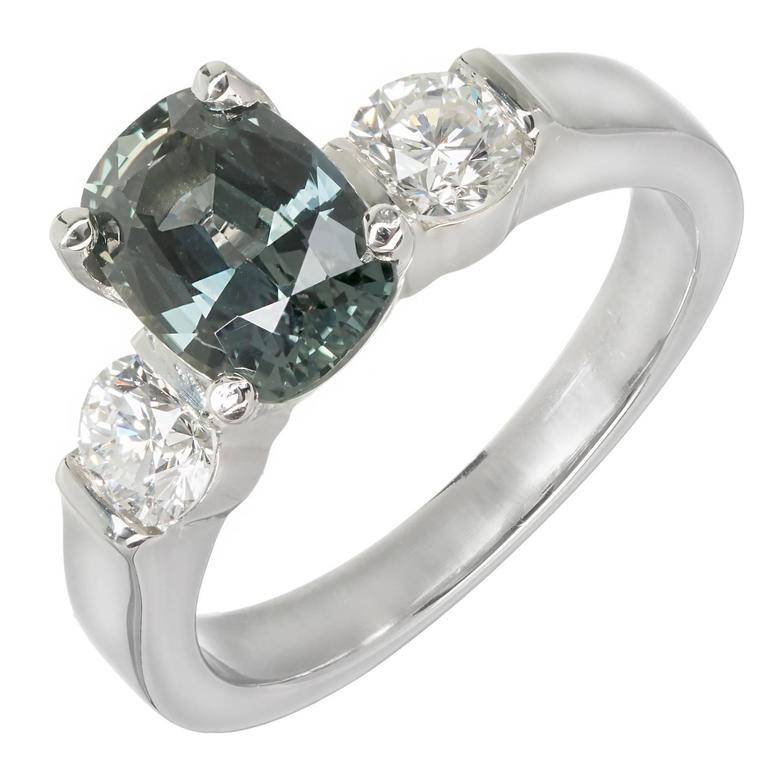 2.11 Carat GIA Certified Sapphire Diamond Platinum Three Stone Engagement Ring For Sale