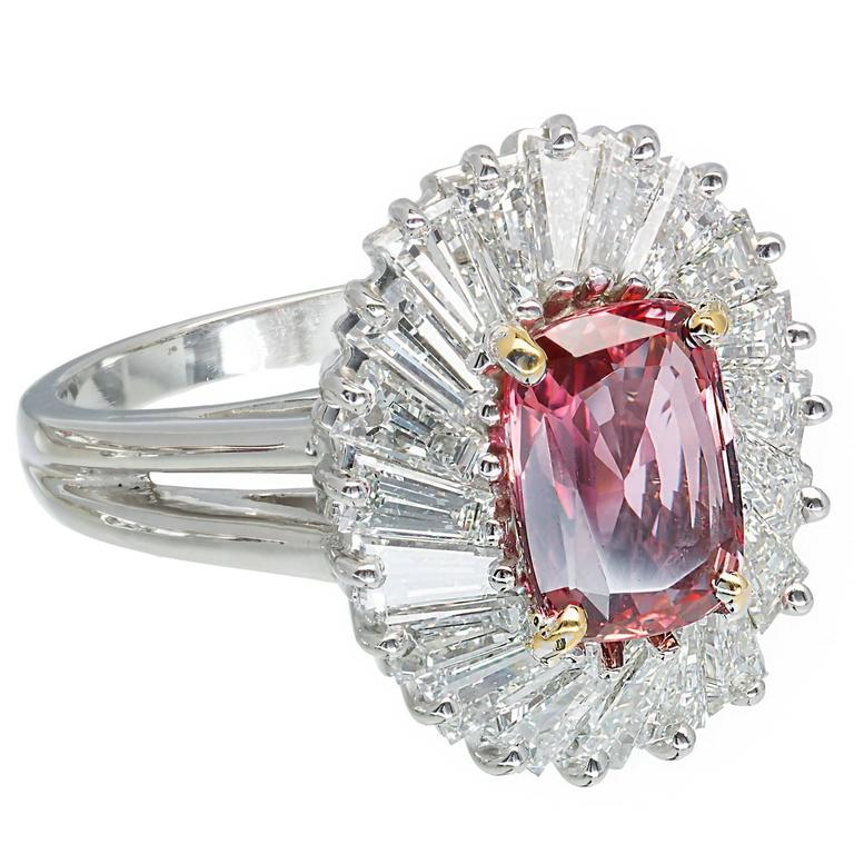 2.39 Carat Pink Sapphire Baguette Diamond Halo Platinum Gold Engagement Ring