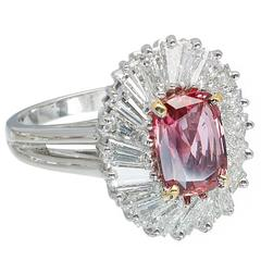 2.39 Carat GIA Certified Pink Sapphire Baguette Diamond Halo Platinum Gold Ring
