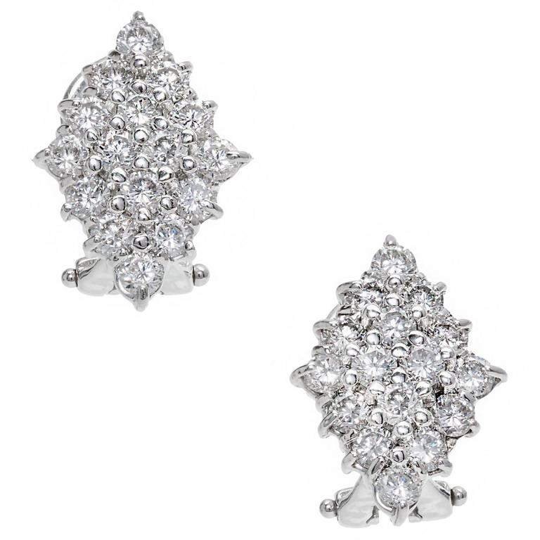 Diamond Marquises Round Cluster Gold Earrings For Sale