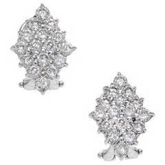 Diamond Marquises Round Cluster Gold Earrings