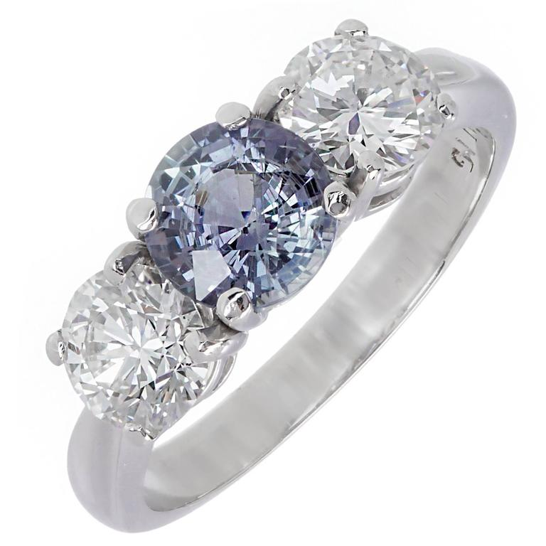 Peter Suchy GIA Certified 1.05 Carat Sapphire Diamond Engagement Ring