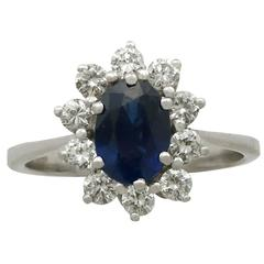 1.35 Carat Sapphire and Diamond White Gold Ring, 1930s