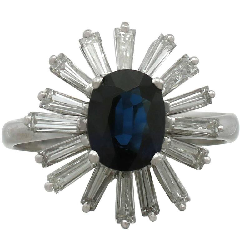 1986 2.65 Carat Sapphire and 1.28 Carat Diamond White Gold Cluster Ring