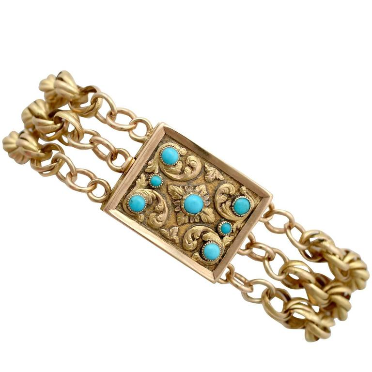 Antique Turquoise and Yellow Gold Mourning Locket Bracelet, 1920s For Sale