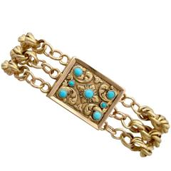 Antique Turquoise and Yellow Gold Mourning Locket Bracelet