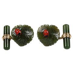 Jade Leaf Ladybug Coral Gold Cufflinks