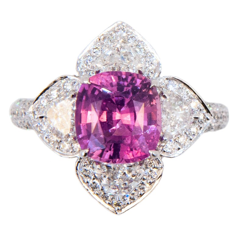 Laura Munder Pink Sapphire Diamond White Gold Ring For Sale