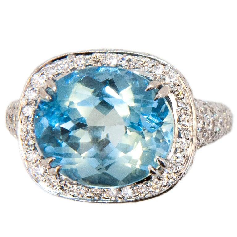 Laura Munder Aquamarine Diamond White Gold Ring For Sale