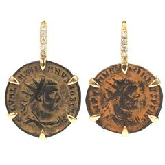 Dubini Empires Ancient Bronze Coins Diamond 18K Yellow Gold Earrings