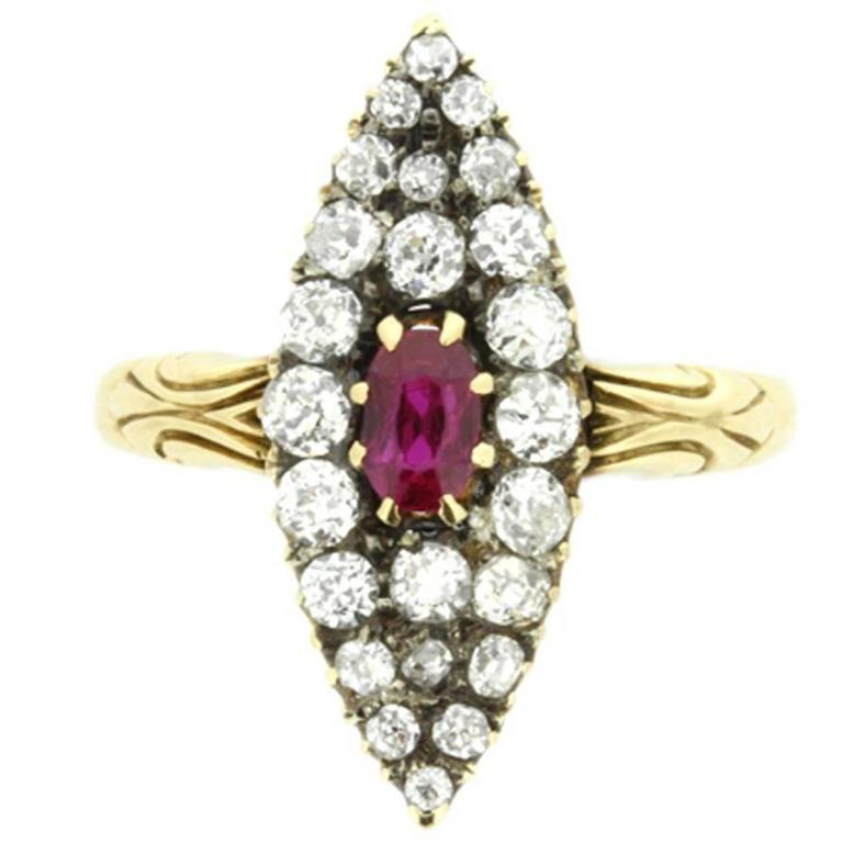 Victorian Marquise-Shaped Ruby and Diamond Cluster Ring, circa 1890s For Sale