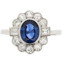 Classic Sapphire and Diamond Halo Ring, circa 1950s