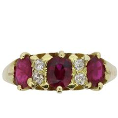 Late Victorian Burmese Ruby and Diamond Ring, circa 1900s