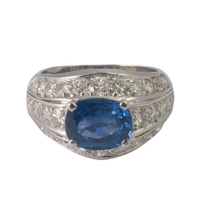 Sapphire Diamond Gold Bombé Ring