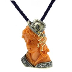 Engraved Face on Coral, Diamonds, Silver and Rose Gold Pendant Necklace