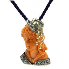 Carved Coral Diamond Silver Gold Pendant